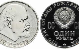 Монета СССР 1 рубль «1870-1970 Ленин»